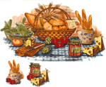 Bread Basket Mural and Accents with Bread, Lettuce, Cheese, Tomatoes, Artichokes
