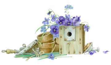 Birdhouse, Pansies, Clay Pots