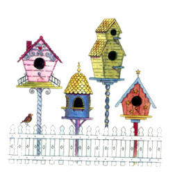Birdhouses with fence