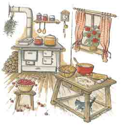 COUNTRY KITCHEN - APPLES, PLUMS, STOVE