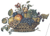 Basket of Fruits with Blossoms