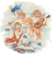 Angels with Musical Instruments, Flowers