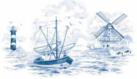 Blue Delft Nautical Mural
