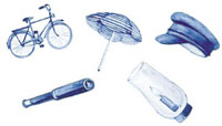 Blue Delft Nautical Bits - Bicycle, Hat, Telescope, Umberella