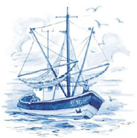 Blue Delft Ship