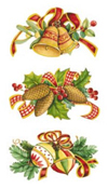 CHRISTMAS BITS  SET 3 PIECE WITH RIBBON AND PINECONES, ORNAMENTS, BELLS, HOLLY