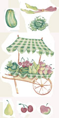 Gardening Pig Bits Set 3 piece Vegetable and Fruit Stand -, Watermelon, Rubarb, Lettuce, Apple, Cherry, Pear