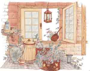 Farm Living Kitchen Mural, Window, Crock, Pitcher, Flowers