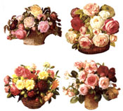 BASKET OF ROSES - Pink, White, Red, Yellow