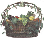 Wicker Basket Mural with Carrots, Asparagus, Peppers, Lemon, Grapes, Eggplant, Corn, Peas