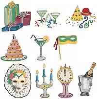 Happy New Year Celebration, Champagne, Mask, Martinis, Clock, Candle, Cake, Presents, Hats