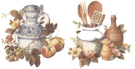 Coffee Pot, Crock, Kitchen Tools, Fruit, Flowers
