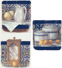 Blue Pottery and  Fruit Set - Grapes, Apples, Pears