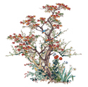 Cloisonne Tree with Bird and Flowers