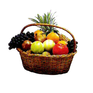 Accent  Assorted Fruit Basket, apples,lemons,grapes, watermelon, pineapple,bananas