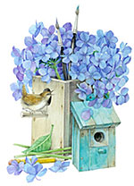 Birdhouse and Hydrangeas