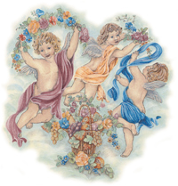 Angels - Cherubs with Flowers