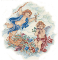 Angels - Cherubs with Flowers and Fruit