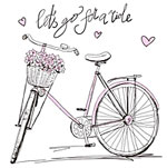 Bicycle with Basket and Hearts - let's go for a ride