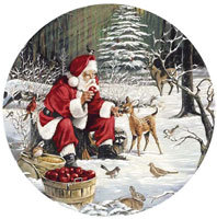 Santa Winter Scene with deer, apples, birds, rabbit,