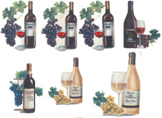 Assorted Wine Chianti, White, Red 7 decals