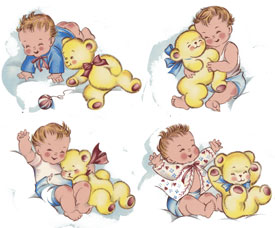 Baby Babies with Teddy Bear SET OF 4