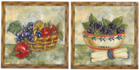 Fruit Basket and Bowl  Accent Set Grapes. Apples, Blackberries