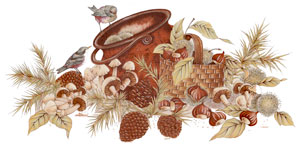 Birds, Copper Kettle, Basket, Acorns, Mushroom Mural