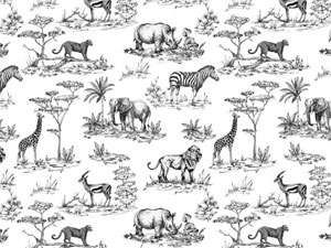 SAFARI, LIONS, TIGERS, GIRAFFES, RHINO, ZEBRA, ELEPHANTS, ANTELOPES, TREES Coverall Chintz