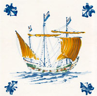 Blue and Yellow Sailing Ship