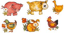 Animal Farm - Duck, Pig, Rabbit, Rooster, Sheep, Chicken