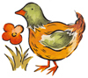 Chicken with orange flower