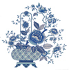 Blue Oriental Basket with Flowers
